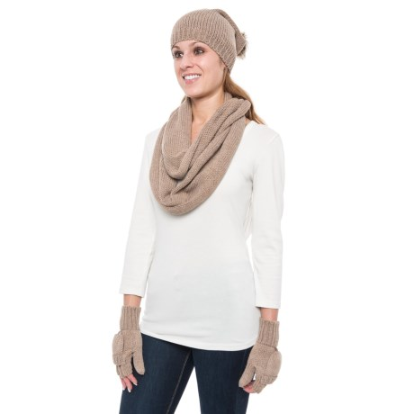 Wrapsody in Hues Pompom Beanie, Infinity Scarf and Pop-Top Mittens Set (For Women) in Cream