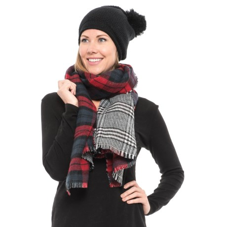 Wrapsody in Hues Reversible Wrap and Pompom Beanie Set (For Women) in Black/Red