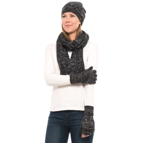 Wrapsody in Hues Sweater-Knit Beanie, Scarf and Gloves Set (For Women) in Black/Heather