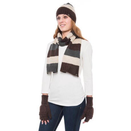 Wrapsody in Hues Sweater-Knit Beanie, Scarf and Gloves Set (For Women) in Brown/Green Grey/Cream