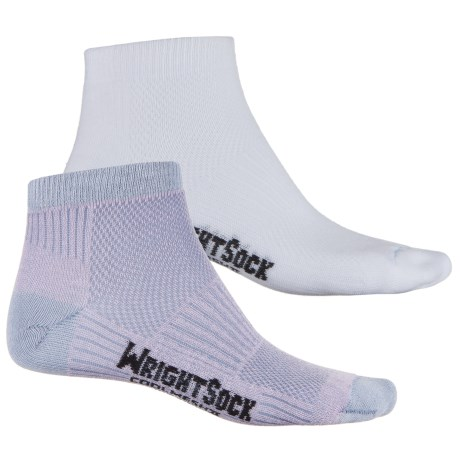 Wrightsock Coolmesh® II Running Socks - 2-Pack, Ankle (For Men and Women) in Mauve/White