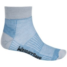 Wrightsock Coolmesh® II Running Socks - Quarter Crew (For Men and Women) in Blue/Light Grey - Closeouts