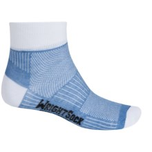 Wrightsock Coolmesh® II Running Socks - Quarter Crew (For Men and Women) in Blue/White - Closeouts