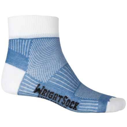 Wrightsock Coolmesh® II Running Socks - Quarter Crew (For Men and Women) in Sky Blue/White - Closeouts