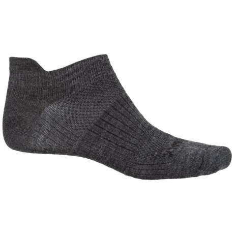 Wrightsock Merino Coolmesh® II Tab Socks - Merino Wool, Below the Ankle (For Men and Women) in Grey/Black