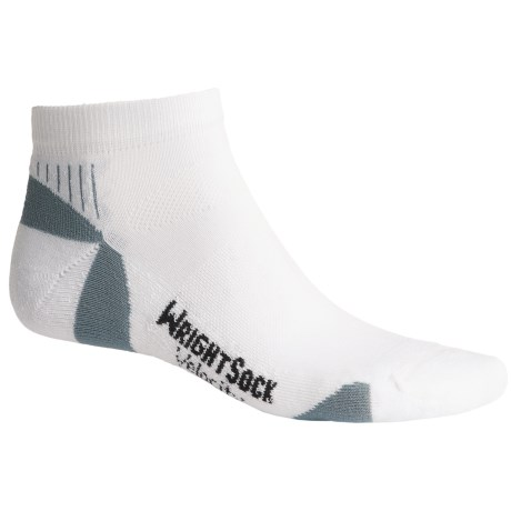 Wrightsock Velocity Lo Socks - Below the Ankle (For Men and Women) in White/Grey