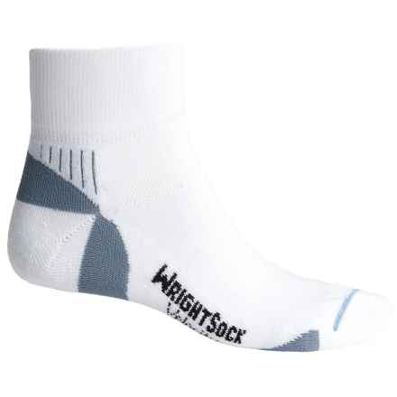 Wrightsock Velocity Socks - Quarter Crew (For Men and Women) in White/Grey - Closeouts