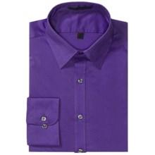 Wrinkle-Free Poplin Dress Shirt - Modified Spread Collar, Long Sleeve (For Men) in Purple - 2nds