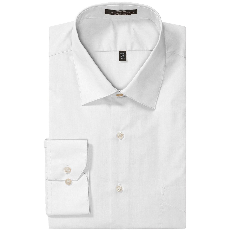 Wrinkle Free Poplin Dress Shirt Modified Spread Collar