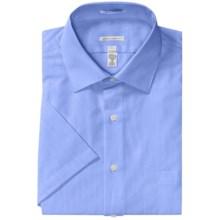Wrinkle-Free Sateen Stripe Dress Shirt - Short Sleeve (For Men) in Medium Blue - 2nds