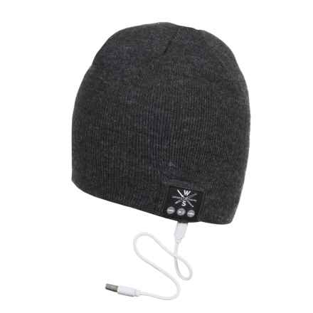 WS Wireless Bluetooth® Beanie - Built-In Headphones in Black/Grey Heather - Closeouts