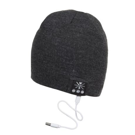 WS Wireless Bluetooth® Beanie - Built-In Headphones in Black/Grey Heather