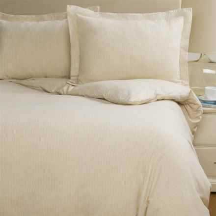 Wulfing Dormisette Cotton-Linen Stripe Flannel Duvet Set - King in Natural Stripe - Closeouts