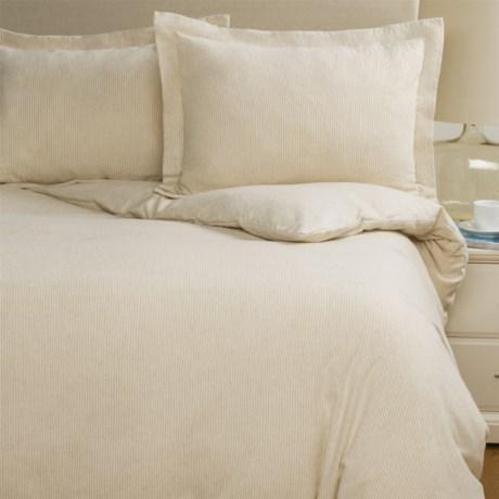 Wulfing Dormisette Cotton-Linen Stripe Flannel Duvet Set - King in Natural Stripe