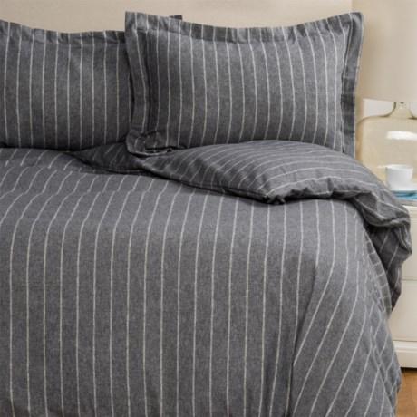 Wulfing Dormisette Double Pinstripe Flannel Duvet Set- King in Charcoal Heather