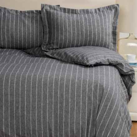 Wulfing Dormisette Double Pinstripe Flannel Duvet Set - Queen in Charcoal Heather - Closeouts
