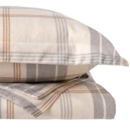 Wulfing Dormisette Gray Natural Plaid Flannel Duvet Set - King in Natural - Closeouts