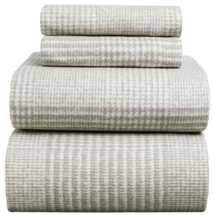 Wulfing Dormisette Heavyweight Luxury Flannel Houndstooth Sheet Set - King in Charcoal - Closeouts