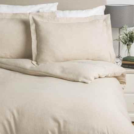 Wulfing Dormisette Luxury Flannel Duvet Set - Queen, Cotton-Linen in Natural Solid - Overstock