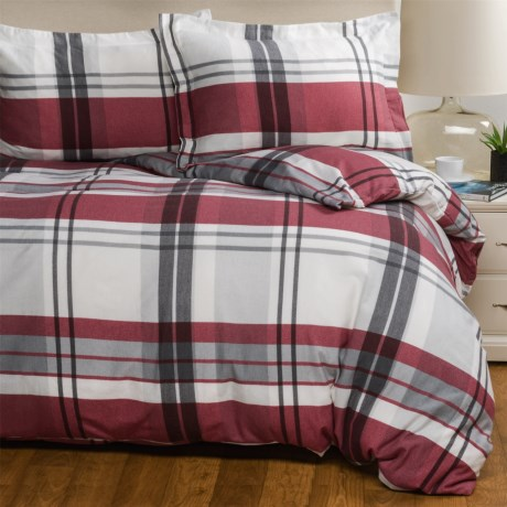 Wulfing Dormisette Luxury Flannel Plaid Duvet Set - Queen in Red/Gray