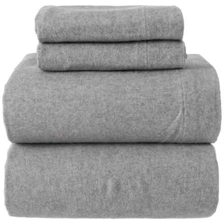 Wulfing Dormisette Mid Grey Heathered Flannel Sheet Set - King in Heather Grey - Closeouts