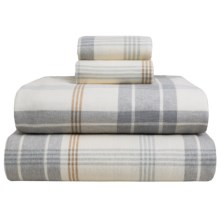 Wulfing Dormisette Plaid Luxury Flannel Sheet Set - King in Gray/Natural - Overstock