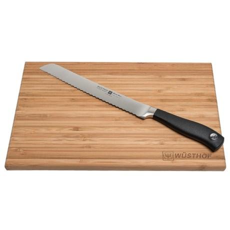 """Wusthof Grand Prix II 8"""" Bread Knife and Board in Black"""