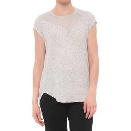 X by Gottex Chiffon Combo T-Shirt - Short Sleeve (For Women) in Light Dots Grey