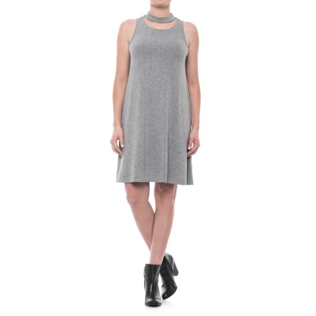 X by Gottex Choker Neck A-Line Dress - Sleeveless (For Women) in Marl Heather