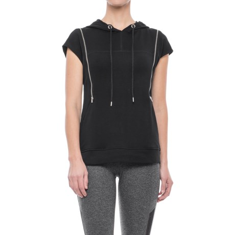 X by Gottex Double-Zip Hoodie - Short Sleeve (For Women) in Black