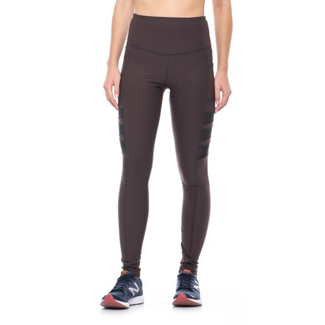 X by Gottex Front Power Mesh Stripe Leggings (For Women) in Seal Brown