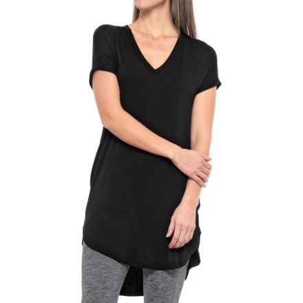 X by Gottex High-Low Deep V Dress - Modal, Short Sleeve (For Women) in Black - Closeouts