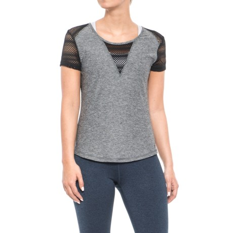 X by Gottex Mesh-Back Shirt - Short Sleeve (For Women) in Dark Heather