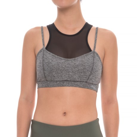 X by Gottex Mesh Control and Support Sports Bra - Molded Cups, Medium Impact (For Women) in Dark Grey