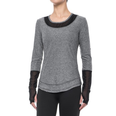 X by Gottex Mesh Detail Shirt - Long Sleeve (For Women) in Dark Grey