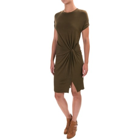 X by Gottex Modal Jersey Wrapped Drape Dress - Short Sleeve (For Women) in Olive