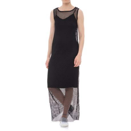 X by Gottex Open-Mesh Maxi Dress - Sleeveless (For Women) in Black