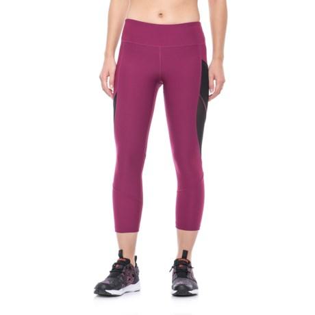 X by Gottex Power Mesh Wrap Capri Leggings (For Women) in Raspberry