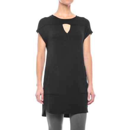X by Gottex Terry Pocket Dress - Short Sleeve (For Women) in Black - Closeouts