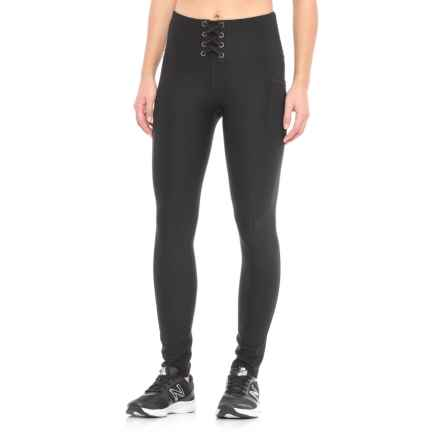X by Gottex Tummy Control Eyelet Lace-Up Leggings (For Women) in Black - Closeouts