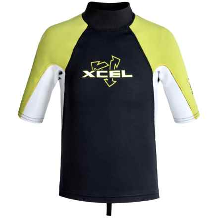 Xcel Axis 1/0.05mm Rash Guard - Short Sleeve (For Big Kids) in Graphite/White/Lemon Ale - Closeouts