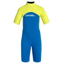 Xcel Axis 2mm Shorty Springsuit (For Big Kids) in Electric Blue/Lemon Ale - Closeouts