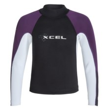 Xcel Basic Axis Top - Long Sleeve (For Big Kids) in Black/White/Eggplant - Closeouts