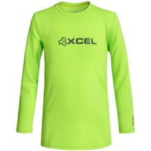 Xcel Robben Rash Guard - UPF 50+, Long Sleeve (For Little and Big Boys) in Green Apple - Closeouts