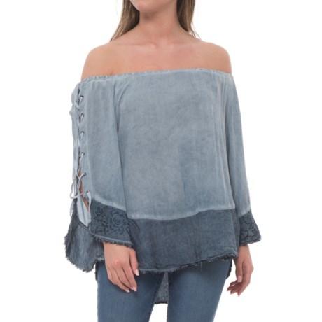 XCVI Akaka Crepe Shirt - 3/4 Sleeve (For Women) in Cold Pigment/Blue