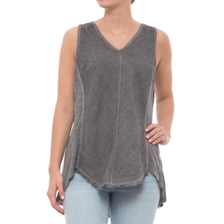 XCVI Amethyst Pinstripe Shirt - Sleeveless (For Women) in Oil Wash/London Grey