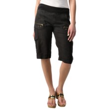 XCVI Bermuda Cargo Shorts (For Women) in Black - Closeouts