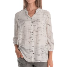XCVI Clara Voile Shirt - Button Front, 3/4 Sleeve (For Women) in Marble London Wash - Overstock