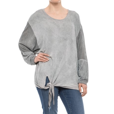 XCVI Cyan Stretch-Terry Shirt - Long Sleeve (For Women) in Cold Pigment Grey
