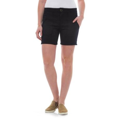 XCVI Fleecy Bermuda Shorts (For Women) in Navy